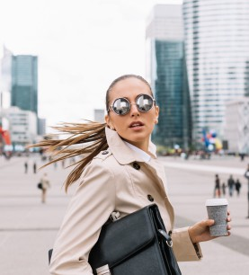 Young woman in a hurry going to work